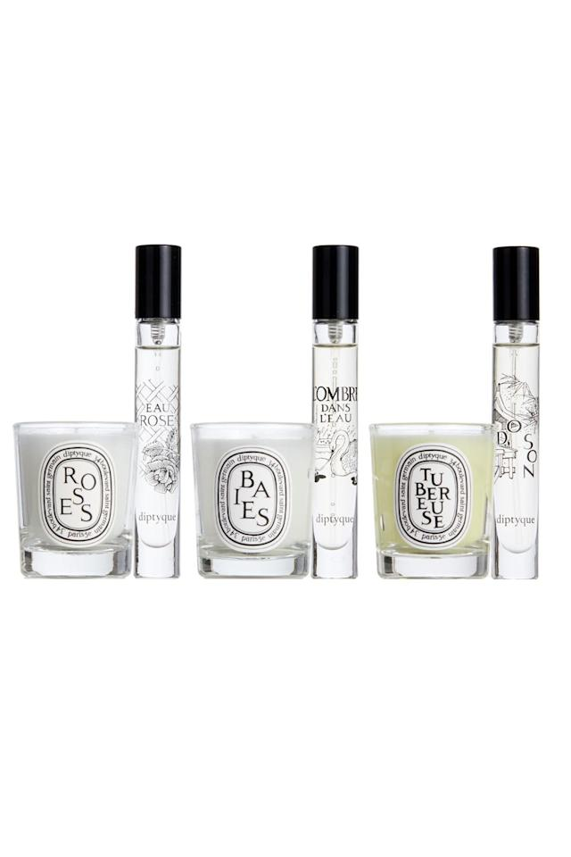 """<p><strong>DIPTYQUE</strong></p><p>nordstrom.com</p><p><strong>$72.00</strong></p><p><a href=""""https://go.redirectingat.com?id=74968X1596630&url=https%3A%2F%2Fshop.nordstrom.com%2Fs%2Fdiptyque-floral-candle-eau-de-toilette-set-105-value%2F5267360&sref=http%3A%2F%2Fwww.cosmopolitan.com%2Fstyle-beauty%2Fbeauty%2Fg5127%2Fbest-perfume-gift-sets%2F"""" target=""""_blank"""">Shop Now</a></p><p>Suuure, you could save up and get your friend that <a href=""""https://www.amazon.com/Diptyque-Scented-Candle-Baies-Berries/dp/B00HZGRYUG/"""" target=""""_blank"""">Diptyque candle</a> they've been wanting for years, <em>or</em> you could take things to the next level with this genius candle and perfume gift set. <strong>You'll get three of the brand's most iconic scents</strong> (I'm obsessed with Baies, for anyone who cares) <strong>in both candle and fragrance form</strong>, which is basically the definition of a score.<em></em></p>"""
