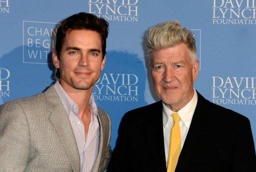 "Actor Matt Bomer and Director David Lynch attend the ""Meditation In Education"" Global Outreach Campaign at The Billy Wilder Theater at the Hammer Museum in Los Angeles, California, on April 2, 2013"
