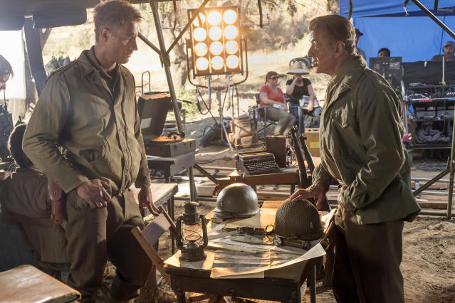 <p>Justin Hartley as Kevin and Sylvester Stallone as Himself in NBC's <i>This Is Us</i>.<br>(Photo: Ron Batzdorff/NBC) </p>