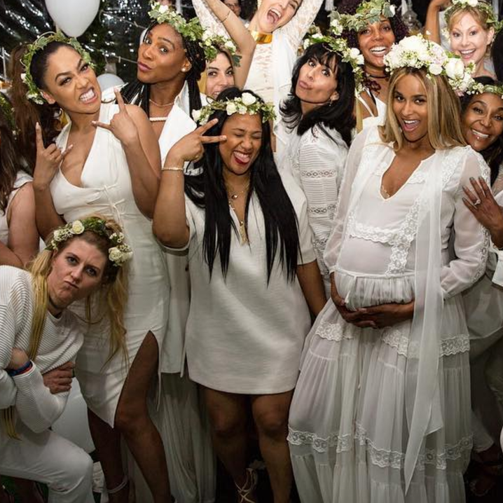 Captivating Ciara With Her Girls At Her Baby Shower Over The Weekend. (Photo: Ciara