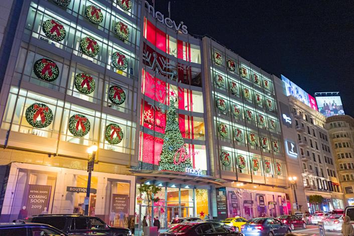 Night view of brightly illuminated facade of the flagship Macy's department store on Union Square in San Francisco, California on Christmas day, December 25, 2018. (Photo by Smith Collection/Gado/Getty Images)