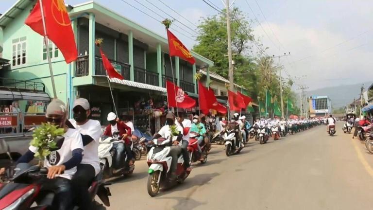 Protesters around Dawei in southern Myanmar march and ride motorbikes in order to avoid confrontation with security forces