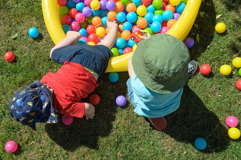 "<p>If you have a water table or kiddie pool, you can also fill it with ball pit balls and hide in eggs in there. It's hard to tell the plastic eggs from the ball pit balls, so you might want to use different colors to distinguish them, like pairing <a href=""https://www.amazon.com/TRENDBOX-100-Ball-Non-Toxic-Decoration/dp/B07YFT98DG/?tag=syn-yahoo-20&ascsubtag=%5Bartid%7C10055.g.4151%5Bsrc%7Cyahoo-us"" rel=""nofollow noopener"" target=""_blank"" data-ylk=""slk:pastel balls"" class=""link rapid-noclick-resp"">pastel balls</a> with <a href=""https://www.amazon.com/Metallic-Specific-Classroom-Joyin-Toy/dp/B079NT5Q9H?tag=syn-yahoo-20&ascsubtag=%5Bartid%7C10055.g.4151%5Bsrc%7Cyahoo-us"" rel=""nofollow noopener"" target=""_blank"" data-ylk=""slk:metallic eggs"" class=""link rapid-noclick-resp"">metallic eggs</a>.</p>"