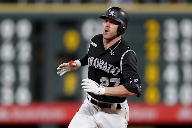 "Can't go wrong with <a class=""link rapid-noclick-resp"" href=""/mlb/players/9571/"" data-ylk=""slk:Trevor Story"">Trevor Story</a> as your starting fantasy SS. (Photo by Matthew Stockman/Getty Images)"