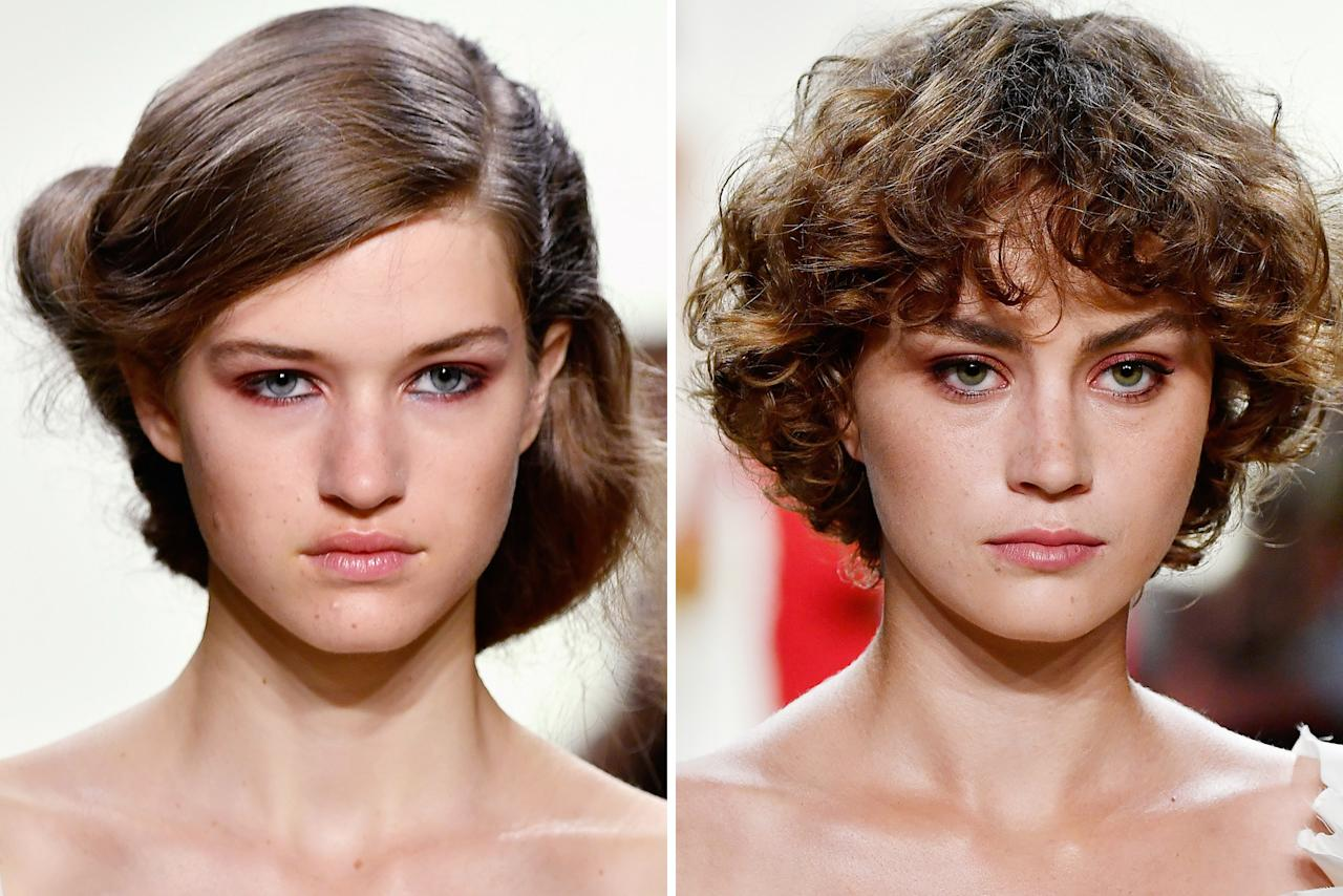 <p><strong>THE LOOK: </strong>On some models, hair was pulled up into chignon rolls, or their natural curls were enhanced. A soft matte-red smoky eye completed the positively bridal beauy look.</p>