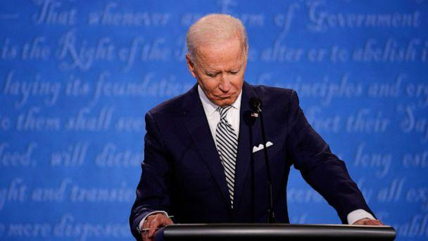 PHOTO: Democratic presidential nominee Joe Biden participates in the first presidential debate with President Donald Trump, Sept. 29, 2020, in Cleveland. (Brian Snyder/Reuters)