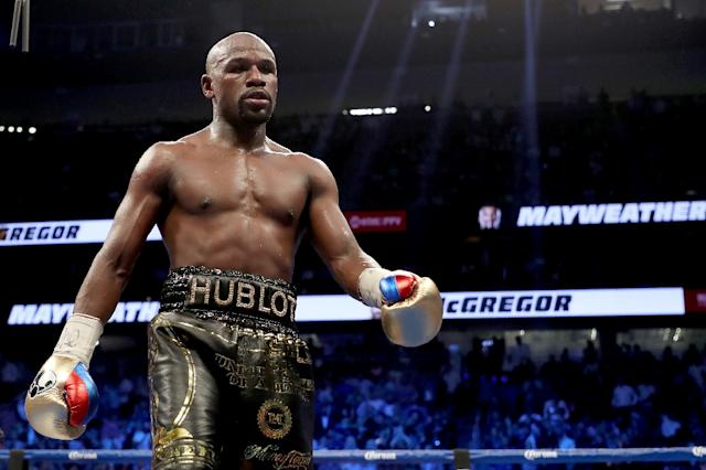 Retired boxing champion Floyd Mayweather insists he is ready to fight Russian mixed martial arts star Khabib Nurmagomedov