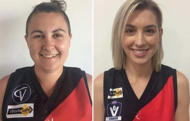 Maegan and Alex in a profile shot from the Frankston Bombers Facebook page. Source: Facebook