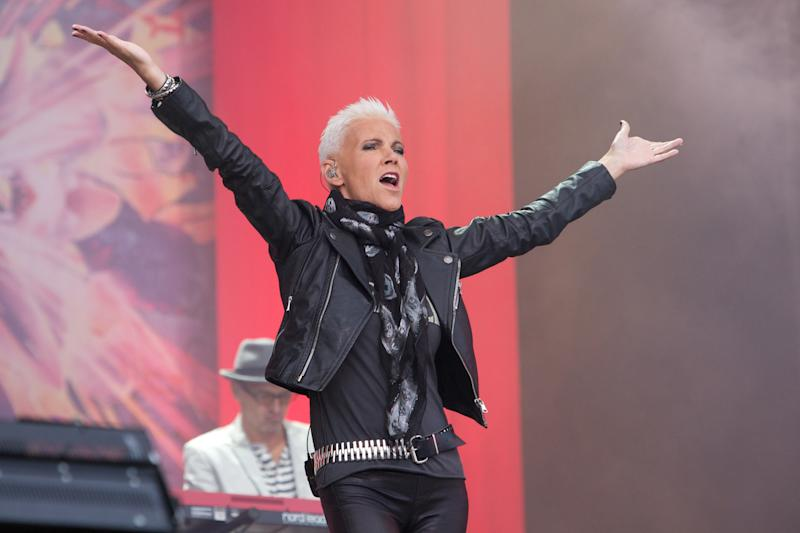 BORLANGE, SWEDEN - JUNE 27: Marie Fredriksson of Roxette performs on stage during day 2 of the Peace & Love Festival on June 27, 2012 in Borlange, Sweden. (Photo by Ragnar Singsaas/Redferns via Getty Images)