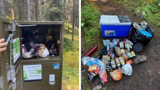 Campers left food and other supplies behind when they vacated their site at Larry's Camp in Banff National Park. (Banff National Park/Facebook - image credit)