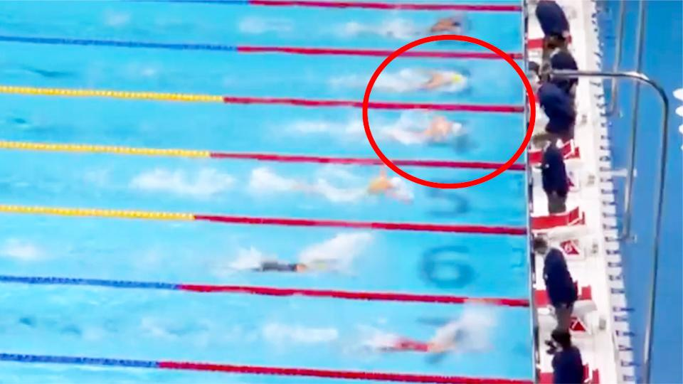 Emma McKeon claimed bronze after a wild finish to the women's 100m butterfly. Pic: Ch7