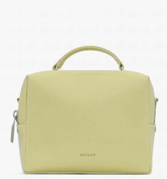 LIV crossbody bag with top handle in 'Cactus.' Available in five colours. Image via Matt & Nat.