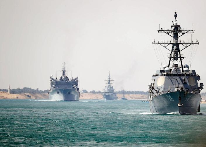 The US has deployed an aircraft carrier strike group to the Gulf (AFP Photo/Darion Chanelle Triplett)