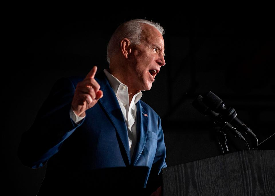 Joe Biden speaks during a rally at Tougaloo College in Mississippi on Sunday. The Democratic presidential candidate won the endorsement of the International Association of Machinists. (Photo: EMILY KASK via Getty Images)