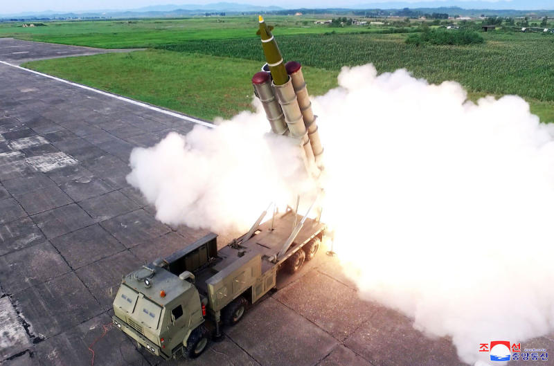 It was the seventh known missile test in North Korea in about a month (Picture: AP)