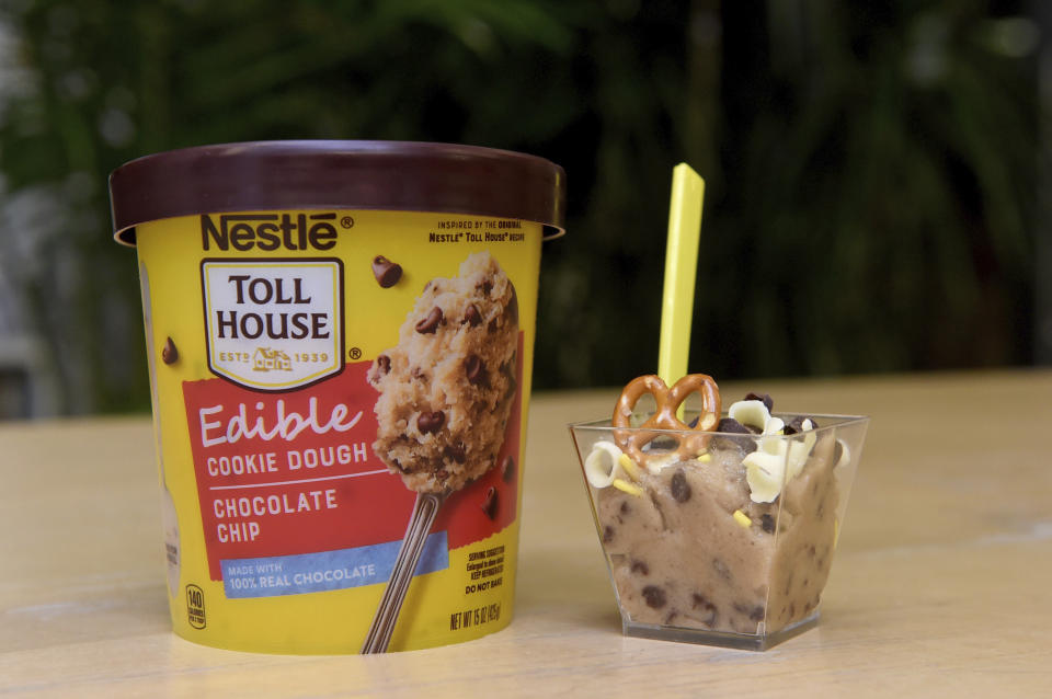 IMAGE DISTRIBUTED FOR NESTLE TOLL HOUSE - Guests had the chance to explore their imaginations by creating their own NESTLÉ TOLL HOUSE Edible Cookie Dough bowl using a variety of toppings, Wednesday, Aug. 7, 2019 in New York. NESTLÉ TOLL HOUSE Edible Cookie Dough is available in Chocolate Chip and Peanut Butter Chocolate Chip Monster flavors and is safe to eat straight out of the tub. (Diane Bondareff/AP Images for Nestle Toll House)
