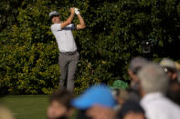 Justin Thomas watches his tee shot on the 14th hole during a practice round for the Masters golf tournament on Tuesday, April 6, 2021, in Augusta, Ga. (AP Photo/David J. Phillip)