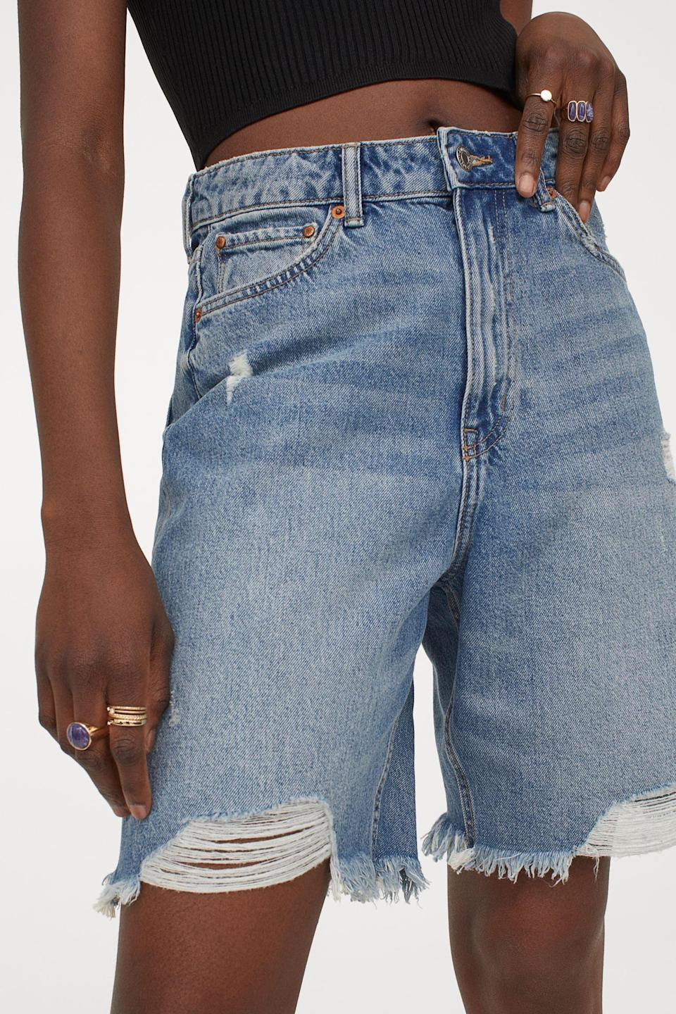 <p>Whether paired with a sophisticated blouse or a relaxed tank top, these <span>Denim Bermuda Shorts</span> ($30) will look cool and summery.</p>