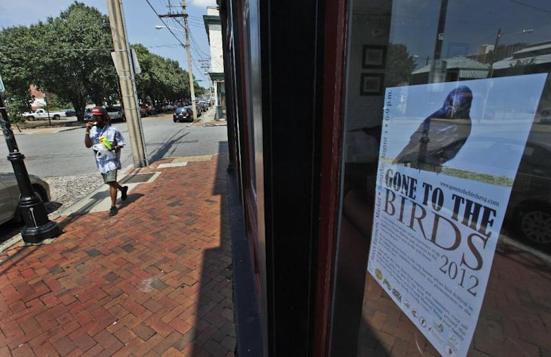 """A passerby walks down the street in front of a sign for the Gone To the Birds festival in Richmond, Va., Wednesday, Aug. 1, 2012. The birds once scorned for the droppings they leaveare now celebrated with their own festival called """"Gone to the Birds."""" ( AP Photo/Steve Helber)"""
