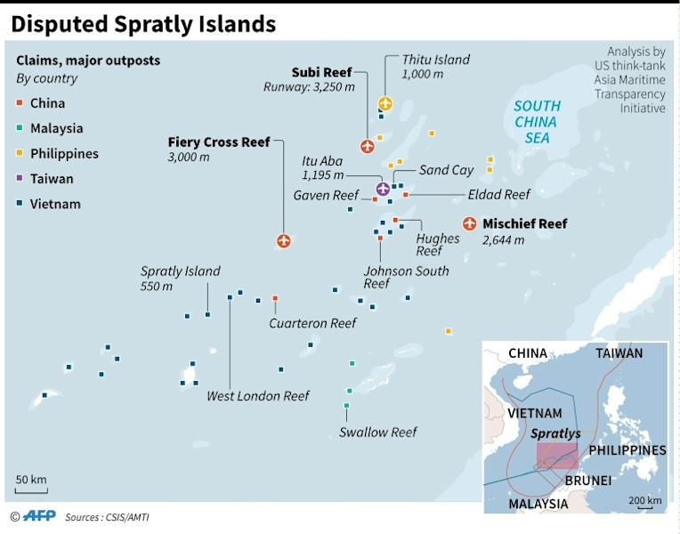 Map showing claims and major outposts on the disputed Spratly Islands
