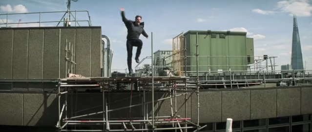 Tom Cruise in the stunt that broke his ankle, as seen in the Super Bowl trailer. (Photo: Paramount)