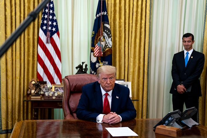 "WASHINGTON, DC - JULY 15: President Donald Trump speaks in the Oval Office of the White House after receiving a briefing from law enforcement on ""Keeping American Communities Safe: The Takedown of Key MS-13 Criminal Leaders"" on July 15th 2020 in Washington DC.  (Photo by Anna Moneymaker-Pool/Getty Images)"