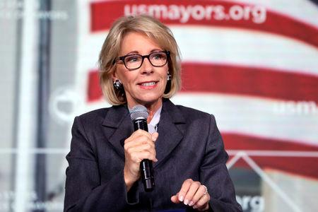FILE PHOTO: Education Secretary Betsy DeVos speaks at the  Conference of Mayors winter meeting in Washington