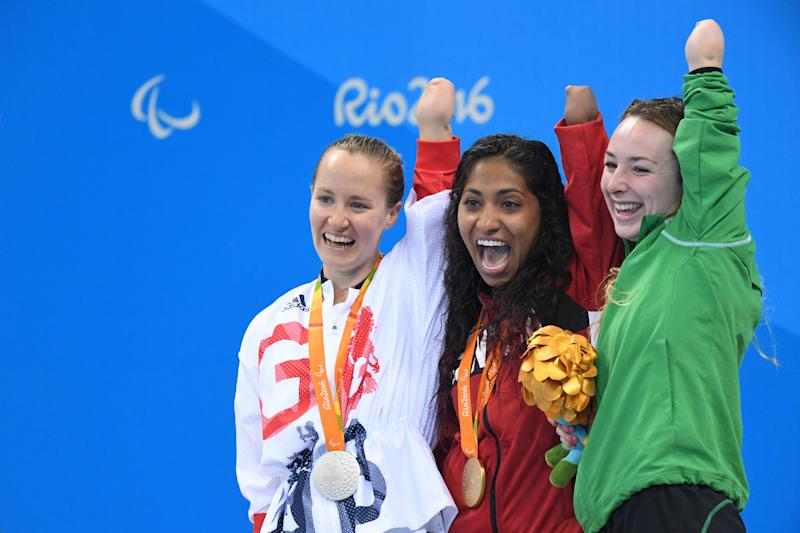 Ellen Keane (right) won bronze in Women's 100m Breaststroke SB8 at the Rio 2016 Paralympic Games (Photo by AFLO SPORT)