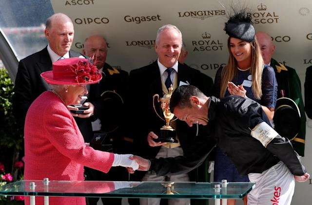 REFILE - CORRECTING TYPO Horse Racing - Royal Ascot - Ascot Racecourse, Ascot, Britain - June 21, 2018 Frankie Dettori shakes the hand of Britain's Queen Elizabeth after winning the 4.20 Gold Cup riding Stradivarius Action Images via Reuters/Paul Childs