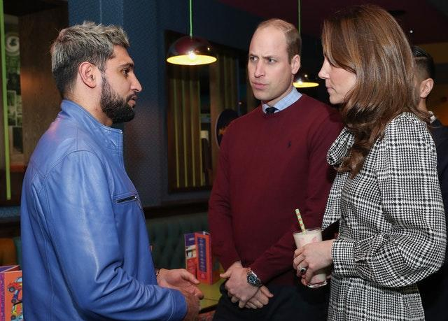 The Duke and Duchess of Cambridge meet boxer Amir Khan