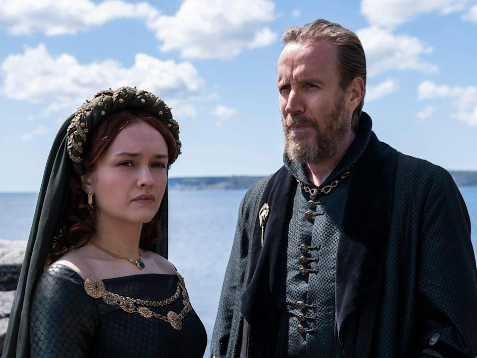Olivia Cooke as Alicent Hightower and Rhys Ifans as Otto Hightower House of the Dragon HBO Game of Thrones TV show 2