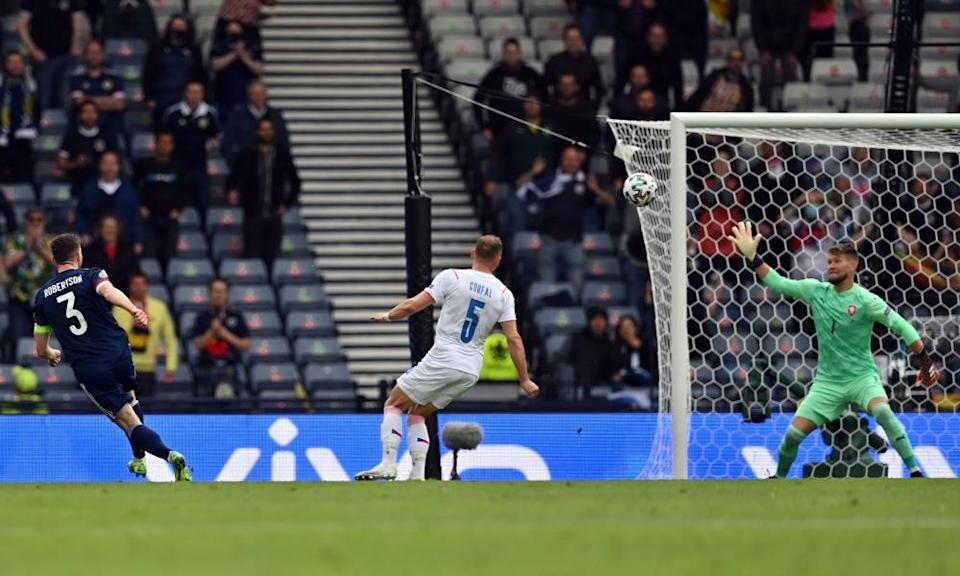 Andy Robertson draws a save from Czech Republic's Tomas Vaclik in the first half