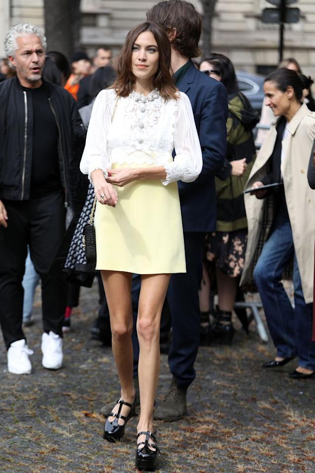<p>Alexa Chung channelled the '60s in her high-neck mini dress and Mary Jane shoes.</p>
