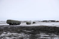 The Bastion anti-ship missile systems move to positions on the Alexandra Land island near Nagurskoye, Russia, Monday, May 17, 2021. Once a desolate home mostly to polar bears, Russia's northernmost military outpost is bristling with missiles and radar and its extended runway can handle all types of aircraft, including nuclear-capable strategic bombers, projecting Moscow's power and influence across the Arctic amid intensifying international competition for the region's vast resources. (AP Photo/Alexander Zemlianichenko)