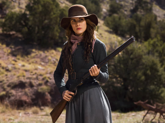<p>Strong and independent, widow Alice Fletcher's first response when a wounded man shows up at the ranch where she lives with her teen son and Paiute Indian mother in-law is to shoot at him. But she allows him to stay, at first so he can heal, but then because he proves himself useful.<br> (Photo: James Minchin/Netflix) </p>