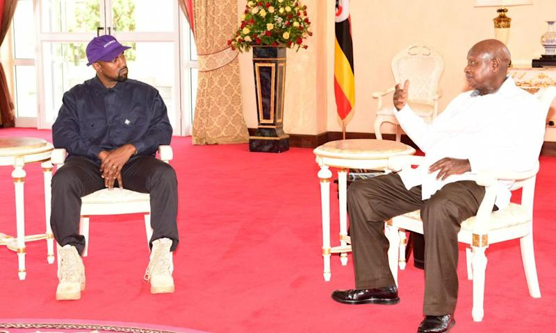Kanye West and President Yoweri Museveni at the State House in Entebbe, Uganda, on Monday.