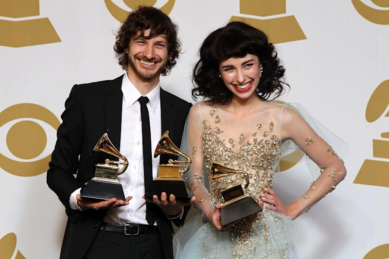 "Gotye, left, and Kimbra pose backstage with the award for best pop duo/group performance for ""Somebody That I Used to Know"" at the 55th annual Grammy Awards on Sunday, Feb. 10, 2013, in Los Angeles. (Photo by Matt Sayles/Invision/AP)"