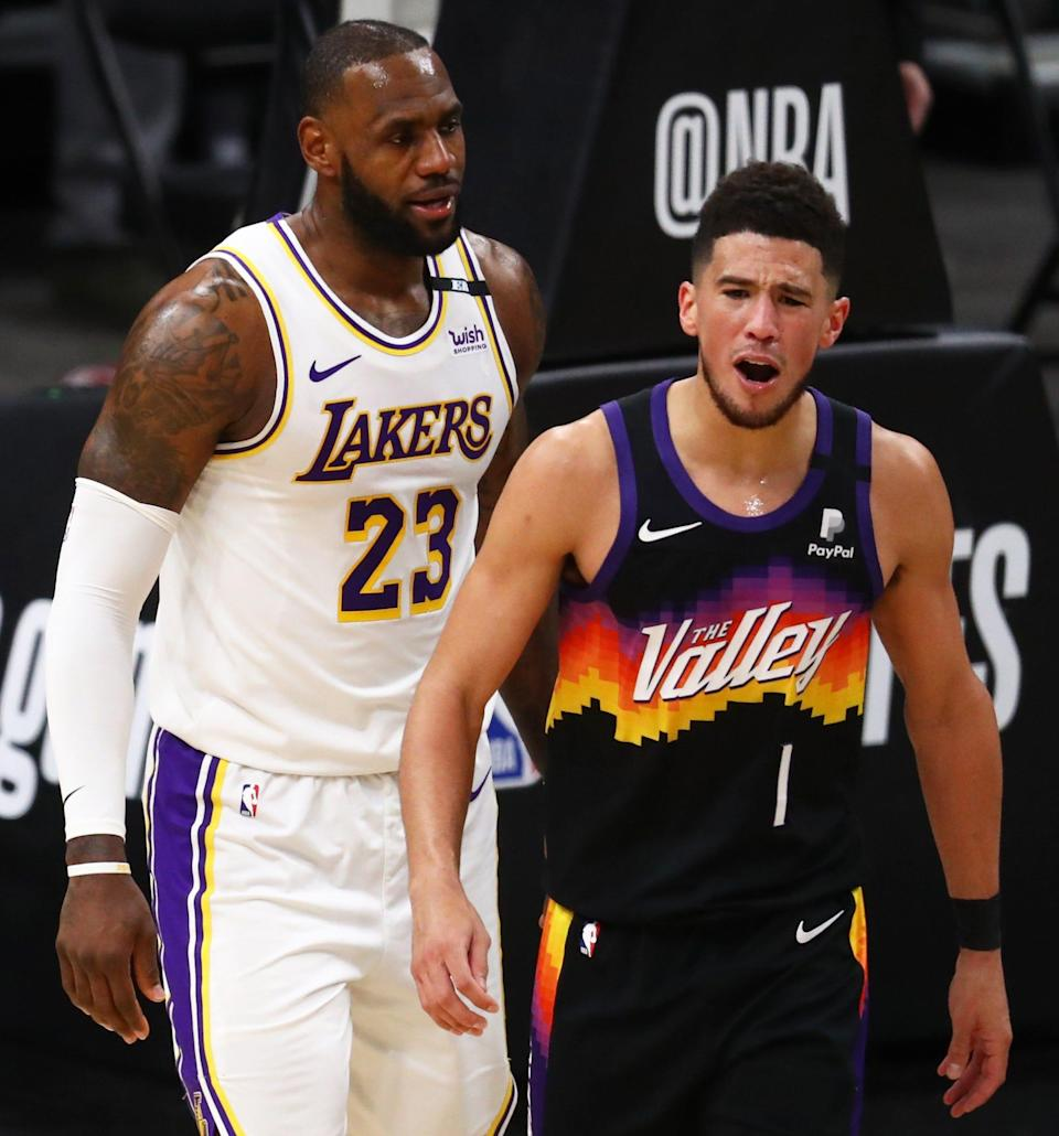 """LeBron James told Devin Booker after the Suns beat the Lakers in the first round, """"Continue to be great."""""""