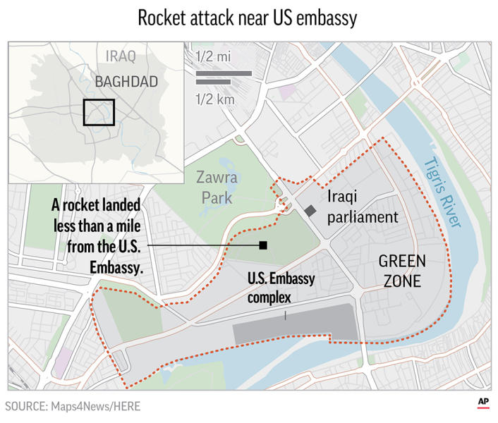 Rocket Crashes Into Baghdad's Green Zone Near U.S. Embassy