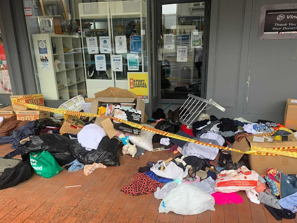 Donations outside the Waverly Vinnies. Source: Supplied