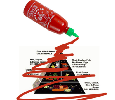 If the Food Pyramid Had Been Covered in Sriracha, Maybe It Wouldn't Have Been Destroyed