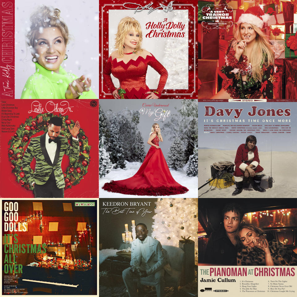 """CORRECTS UNDERWOOD'S ALBUM TITLE - This combination photo shows holiday album covers, top row from left, """"A Tori Kelly Christmas"""" by Tory Kelly, """"A Holly Dolly Christmas"""" by Dolly Parton, """"A Very Trainor Christmas"""" by Meghan Trainor, second row from left, """"The Christmas Album"""" by Leslie Odom Jr., """"My Gift,"""" by Carrie Underwood, """"It's Christmas Time Once More"""" by Davy Jones, bottom row from left, """"It's Christmas All Over"""" by the Goo Goo Dolls, """"The Best Time of Year"""" by Keedron Bryant and """"The Pianoman at Christmas"""" by Jamie Cullum. (Capitol and Schoolboy/Butterfly/Epic/S-Curve Records and BMG/Capitol Records Nashville/Not Too Late Records/Warner/Warner/Blue Note via AP)"""