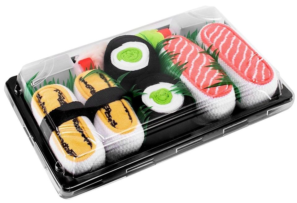 <p>OK, how cute is this <span>Sushi Sock Gift Set</span> ($23)? Just add shoes!</p>
