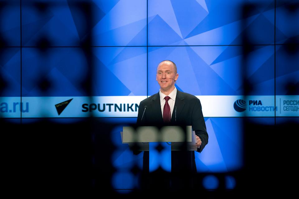 Carter Page, a formerforeign policy adviser of U.S. President-elect Donald Trump, speaks ata news conferenceat RIA Novosti news agency in Moscow, Russia, Monday, Dec. 12, 2016. Page said he was in Moscow to meet with businessmen and politicians.