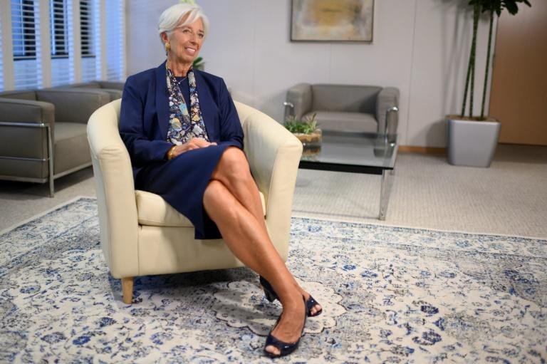 Outgoing IMF Managing Director Christine Lagarde gives an exclusive interview to AFP journalists at the IMF headquarters in Washington on September 19, 2019 (AFP Photo/Eric BARADAT)