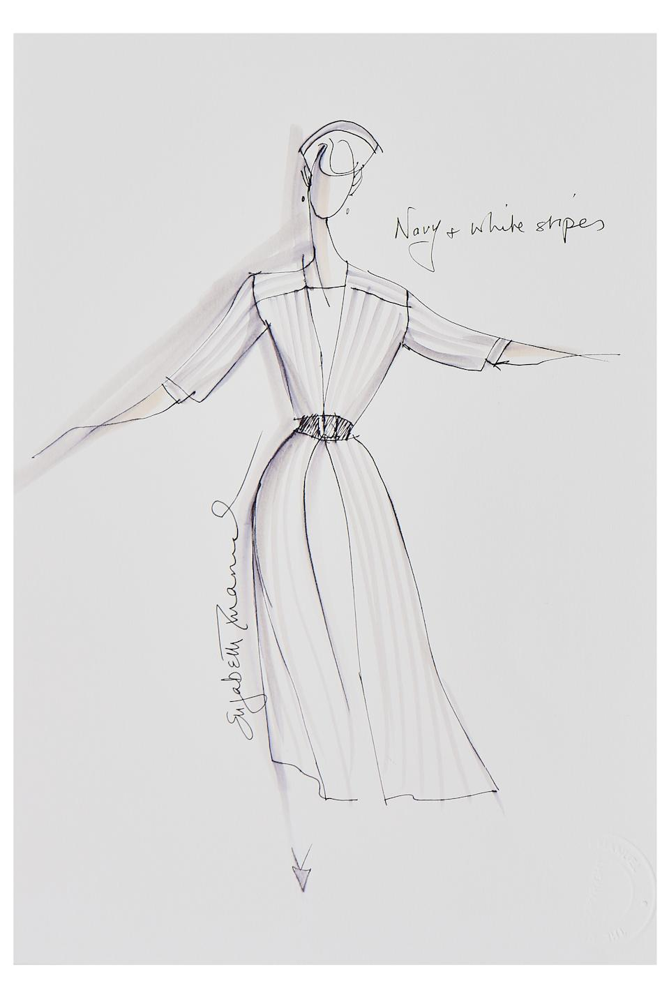 Elizabeth Emanuel sketch of Princess Diana's 1986 navy and white silk dress. (Kerry Taylor auctions)