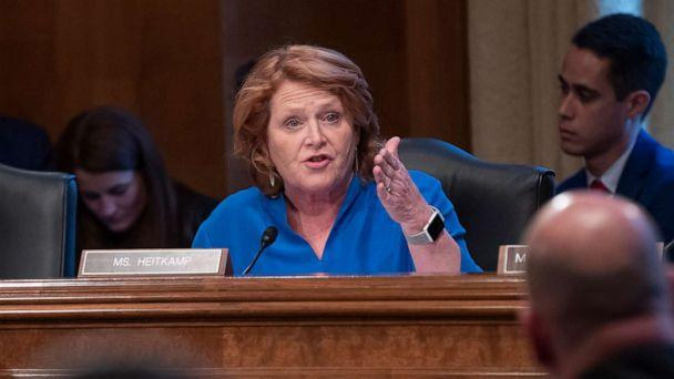 PHOTO: Sen. Heidi Heitkamp talks to a panel of law enforcement officials during a hearing by the Senate Committee on Indian Affairs, on Capitol Hill in Washington, Dec. 12, 2018. (J. Scott Applewhite/AP, FILE)