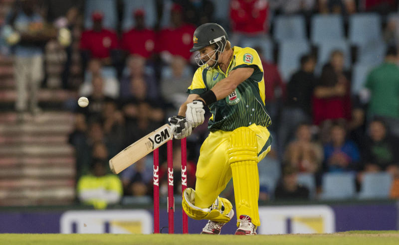 Australia's batsman Shane Watson, plays a shot during their T20 Cricket match against South Africa at Centurion Park in Pretoria, South Africa, Friday, March 14, 2014. (AP Photo/Themba Hadebe)