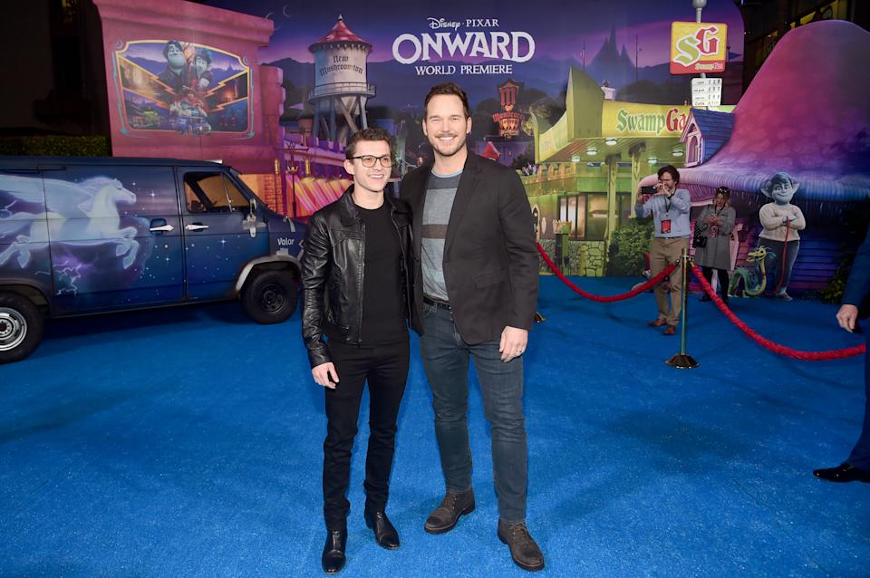 Tom Holland and Chris Pratt play teenage brother elves Ian and Barley in Onward. (Photo by Alberto E. Rodriguez/Getty Images for Disney)