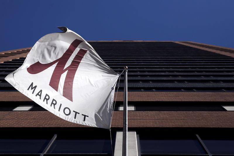 A Marriott flag hangs at the entrance of the New York Marriott Downtown hotel in Manhattan, New York